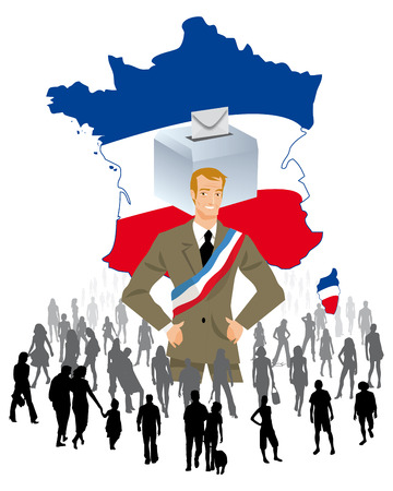 politician: an urn on a map of France for democratic elections Political Parties