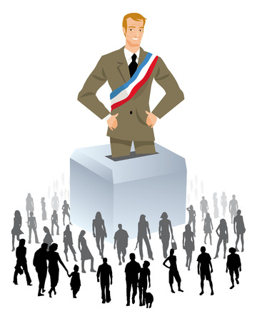 voter: a piliticien on an urn with a crowd of people around