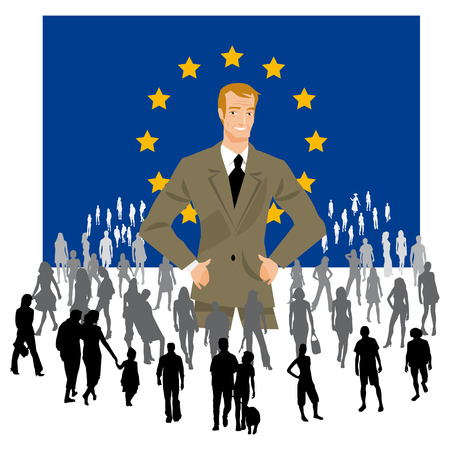 elector: a politician on a European flag with a crowd of people in the European elections