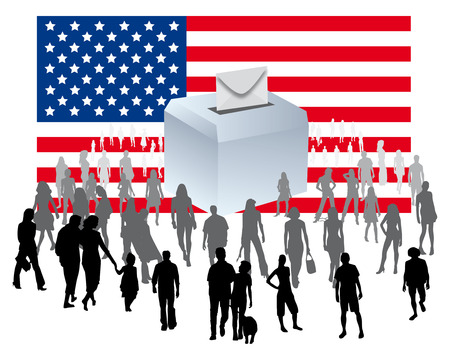 state election: urn on an American flag with a crowd of people for democratic elections U S  political party Stock Photo