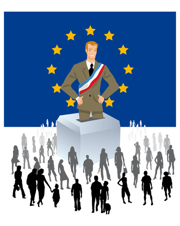 a politician is a European flag with urn year with a crowd of people in the European elections photo