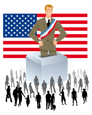 urns: a politician with urn year is an American flag with a crowd of people for Democratic Elections Political Parties