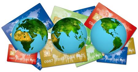 banco mundial: 3 Tierras en representaci�n de todos los pa�ses en los pagos de tarjetas de mundo por los pr�stamos bancarios