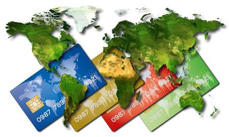 banco mundial: tarjetas de cr�dito del banco tiene un mapa con todos los Pa�ses del Mundo