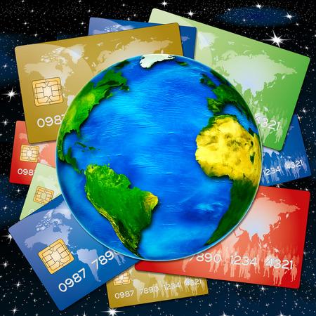 banco mundial: varias tarjetas de cr�dito del banco era el mundo era el fondo del cielo nocturno Foto de archivo