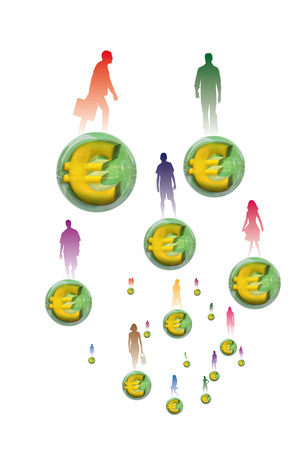 3 dimensions: Silhouettes of several people standing was embedded ball in euros in 3 dimensions