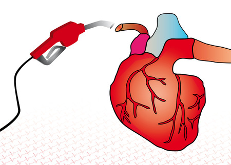 cardiovascular disease: Care for a heart by a blood transfusion to a heart problem Stock Photo