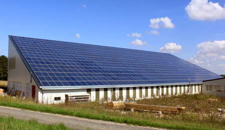 Roof photovoltaic panels for solar power Stock Photo