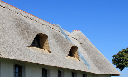 cottages: Cover thatch roof of a cottage on a blue sky background