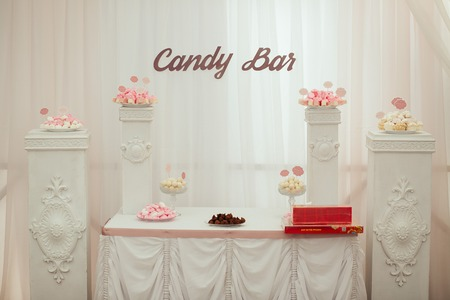 ombre cake: Dessert table and candy bar on wedding Stock Photo