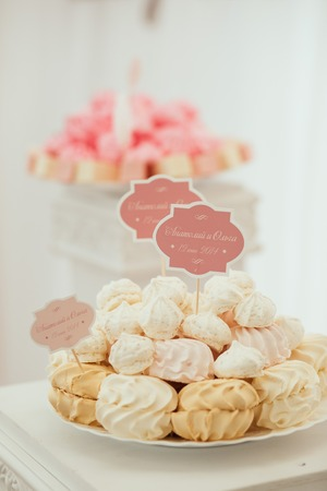 dessert table: Dessert table and candy bar on wedding Stock Photo