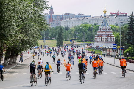 bikercross: Omsk, Russia - June 6, 2015: Cycling marathon in Omsk Editorial
