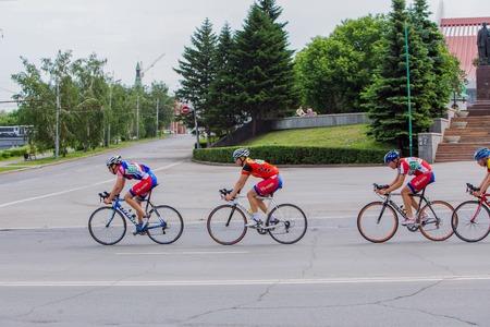 bikercross: Omsk, Russia - June 6, 2015: Bike marathon in Omsk Editorial
