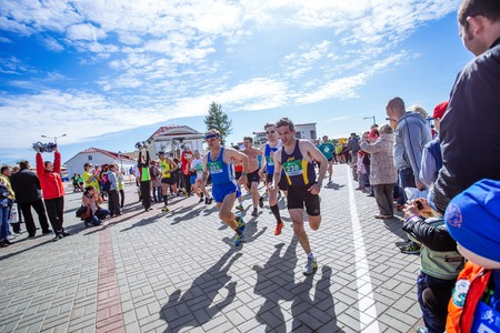 streetscene: Omsk, Russia - May 24, 2015: Runner at Great summer marathon in Omsk on May 24th in Omsk