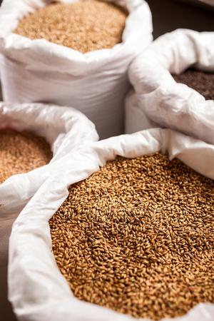 ingredients tap: barley in big bags in the brewery