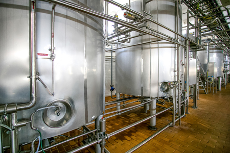 fermentation: Fermentation in huge stainless vats at the milk factory