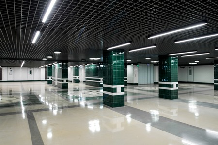 underground passage: Underground passage in modern building with white-emerald color and bright lights