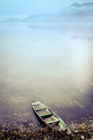 sunk: Lonely fishing boat on the lakeside with for and voilet-blue color vertical