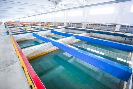 sedimentation: Russian wastewater sinker with blue bricks between