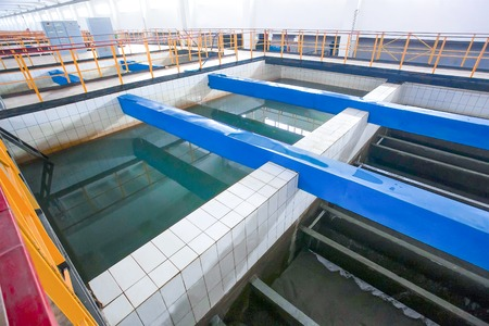 wastewater: Huge Russian wastewater treatment sinker with blue bricks between
