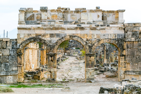 archeology: Antique arch ruins  - archeology background - Pamukkale, Turkey