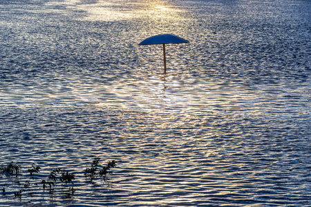 gleam: Gold waterside and sunshade. Sunlight gleam on river Stock Photo