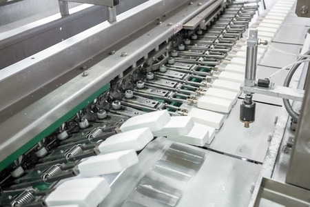 put pressure: Production of white ice-cream - convair at factory