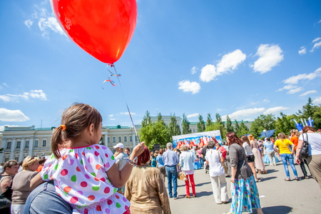 festivities: Omsk, Russia - June 12, 2015: Russiuan day celebration festivities in Omsk Editorial