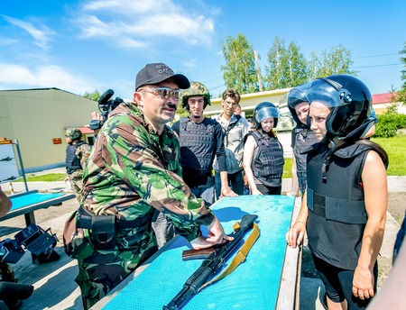 unite: Omsk, Russia - July 1, 2015: military training, riot police unite - Omon -  in Omsk