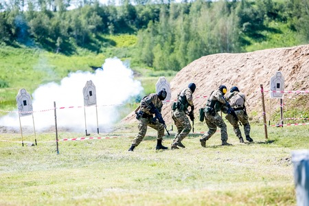 sniper training: Omsk, Russia - July 1, 2015: military training, riot police unite - Omon -  in Omsk