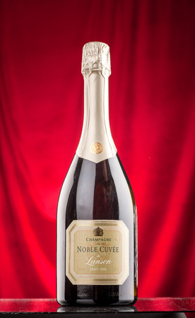 noble: Omsk, Russia - August 14, 2014: champagne Noble Cuvee on the bar counter Editorial