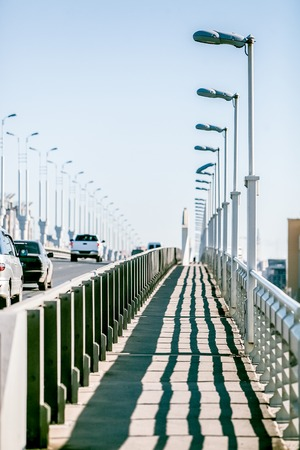 guardrails: pedestrian zone on the car bridge at sunny day