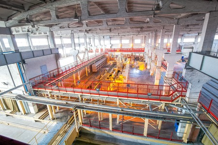 conveyor rail: New bright  production facilities  at factory producing blocks view from above