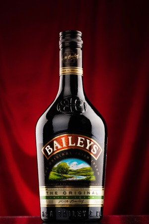 cordial: Omsk, Russia - August 14, 2014: Baileys liqueur on the bar counter Editorial