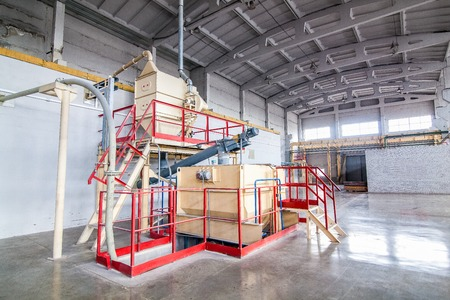 conveyor rail: New bright  production facilities  at factory producing blocks