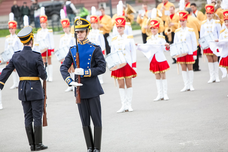 regiment: Omsk, Russia - May 08, 2013: presidential regiment parade with drummers