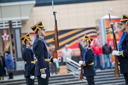 regiment: Omsk, Russia - May 08, 2013: presidential regiment demonstration performances Editorial