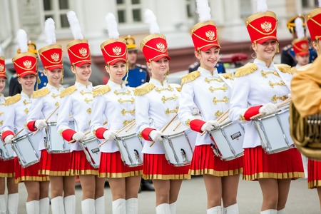 regiment: Omsk, Russia - May 08, 2013: presidential regiment parade with girls-drummers