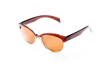 unisex: unisex sunglasses with brown lens isolated against a white background side view