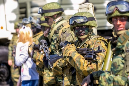 battalion: Omsk, Russia - May 8, 2015: victory parade, a soldier with gun Editorial