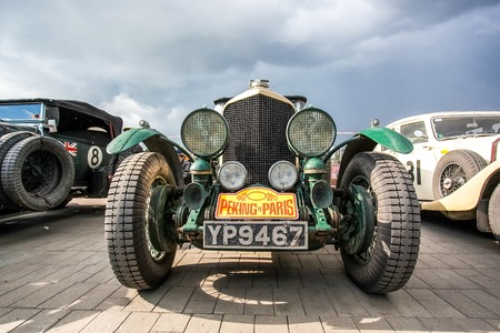 Omsk, Russia - June 11, 2013: stage of Rally Peking-Paris by retro cars in Siberia