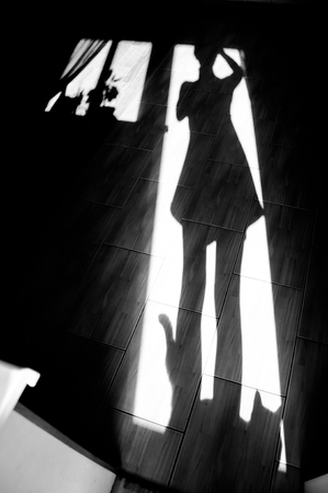 people shadow: Cheerful girl with a cat - shadow on house floor in the morning. Black and white photo, monochrome Stock Photo