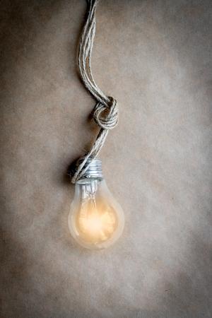lit: concept of idea illustration lit lamp close up