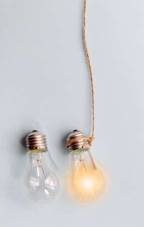 concept of idea illustration lit lamp close up
