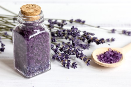 manufacture of homemade cosmetics with lavander on wooden background close up Stock Photo