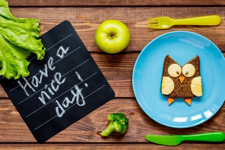 kids breakfast owl shaped sandwich on blue plate top view at wooden background have a nice day Imagens
