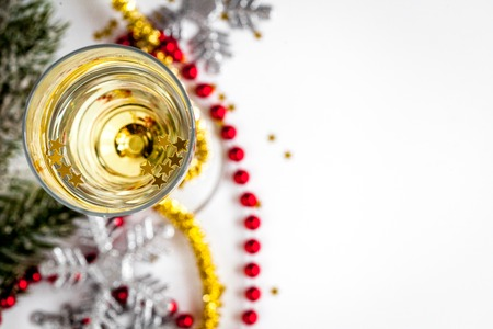 glasses of champagne and christmas ornaments top view on white background stock photo 66197999