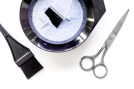 Tools For Hair Dye And Hairdye Top View On White Background Stock ...