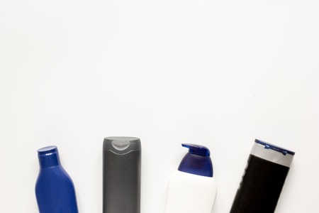 cosmetics for men in bottle on white background top view. Imagens - 67387794