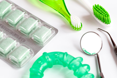 prophylaxis: tools for oral care and prophylaxis o white background. Stock Photo